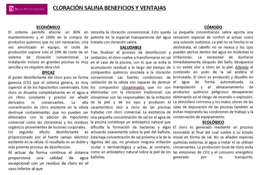 BENEFICIOS Y VENTAJAS DE LA CLORACIÓN SALINA DE LA PISCINA MEDIANA