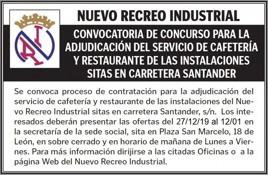 CONVOCATORIA CONCESIÓN CAFETERÍA Y RESTAURANTE DICIEMBRE 2019