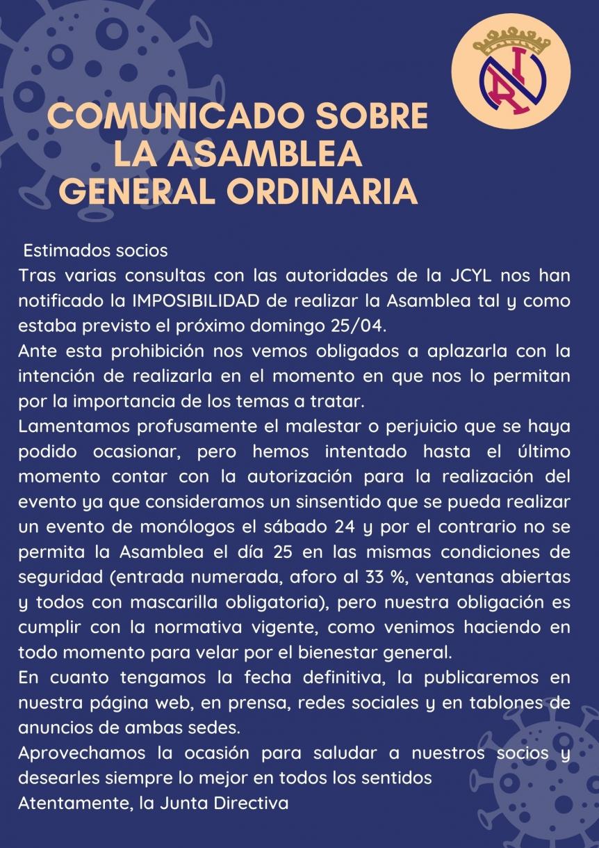 Aplazamiento de Asamblea General Ordinaria